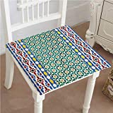 Mikihome Classic Decorative Chair pad Seat Colorful Moroccan Mosaic Wall Mideast Style Craftsmanship Vertical Details Cushion with Memory Filling 32''x32''x2pcs
