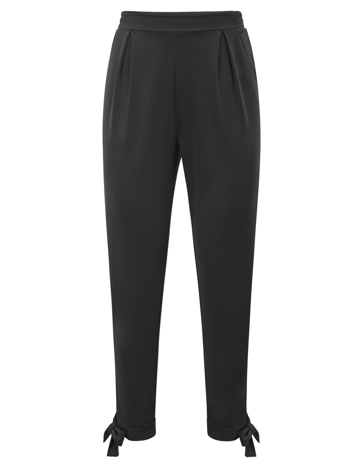 Kate Kasin Flat Front Business Ankle Pants for Women Bow Tie Hem Black M,KK898-1 by Kate Kasin