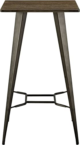 Modway Direct Rustic Modern Farmhouse Steel Metal Square Bar Table with Bamboo Top in Brown