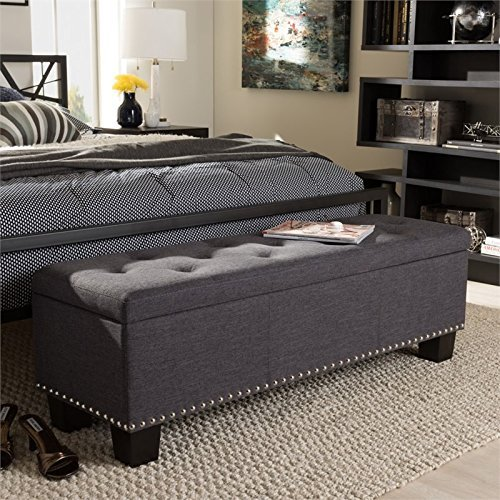 Baxton Studio Storage Ottoman Bench in Dark Gray Finish