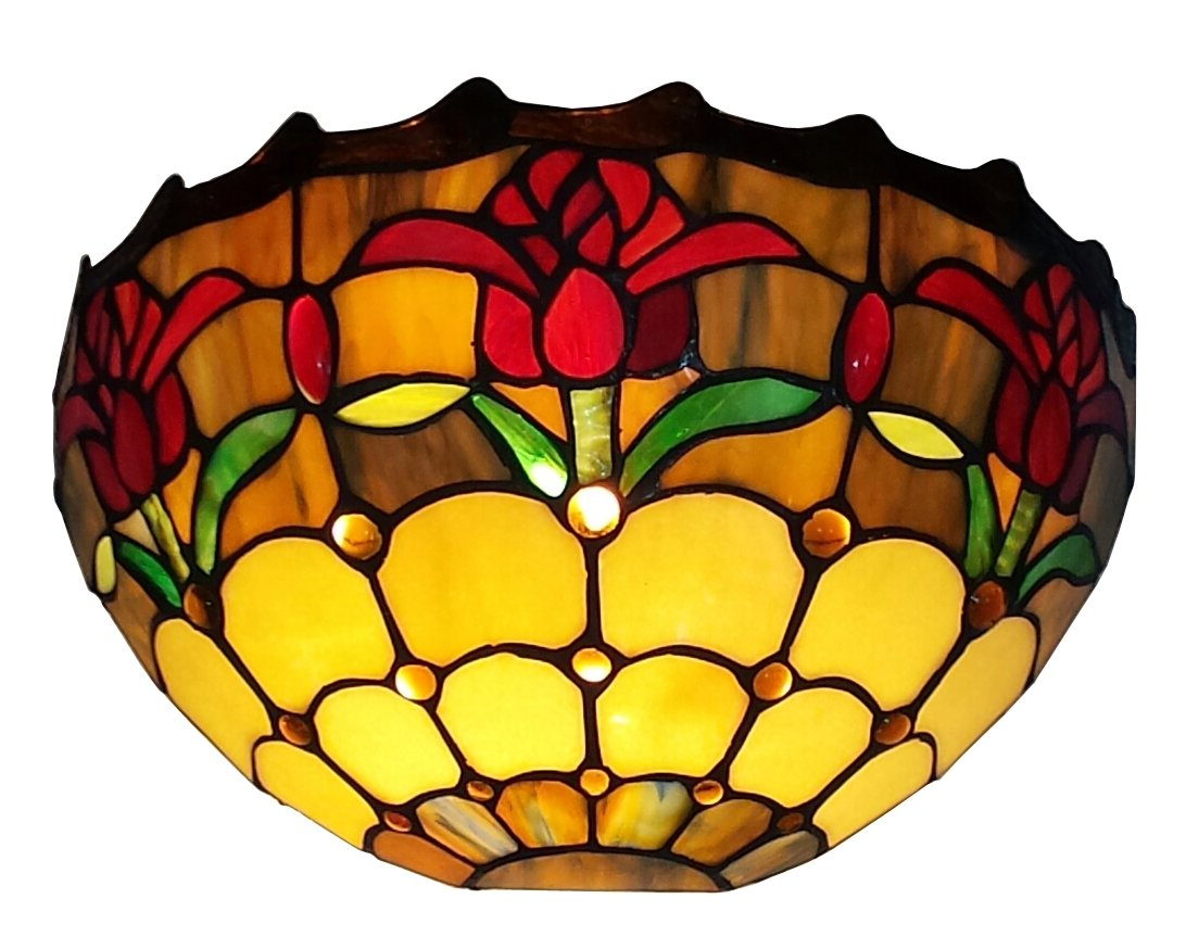 Sconce Lamp Wall Mount Light Glass Shade Vintage Art Deco Tiffany ...