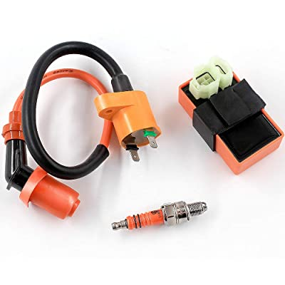 Trkimal High Performance Racing AC Cdi Box 6pin + Ignition Coil + 3 Electrode Spark Plug for GY6 50cc 80cc 125cc 150cc Moped Scooter ATV Go Kart: Automotive