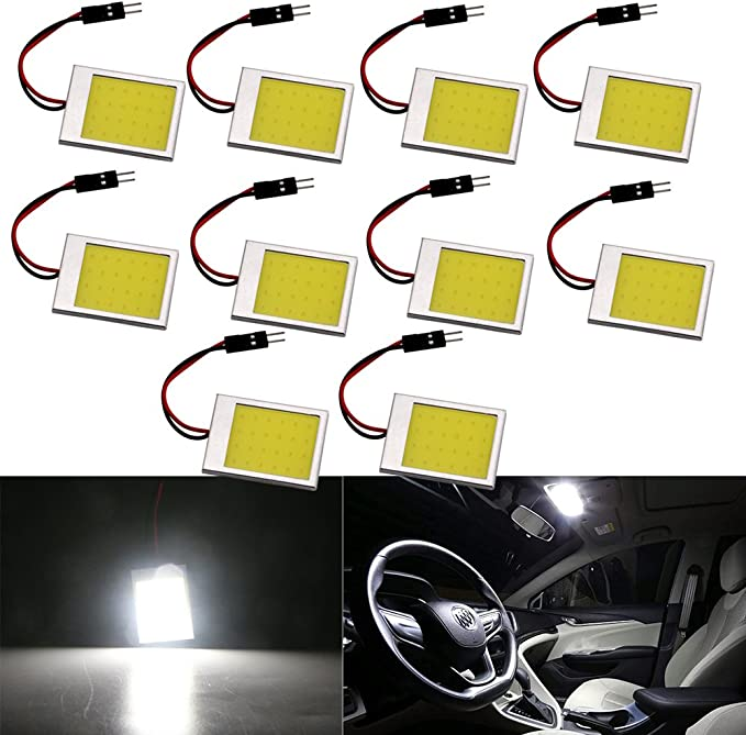 Grandview 4pcs White Panel LED Light Energy Saving COB 24-SMD Dome Lights Auto Car Interior Lights Reading Lights Roof Ceiling Lights with 3 adapters