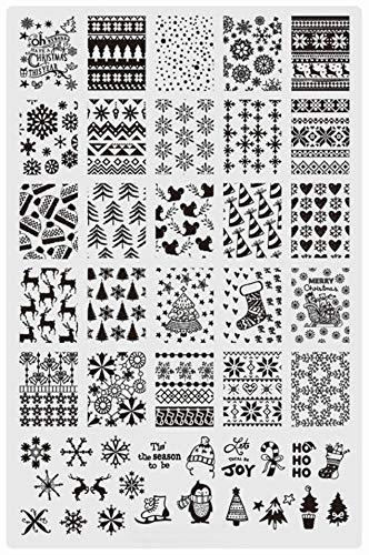 Fiberglass Snowman - 1 Pcs Christmas Snowman Stainless Steel Nail Stamper Exquisite Popular Nails Art Stamps Plates Scraper Tools Clear Gel Marble Design Halloween Set, Type-01