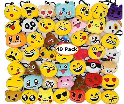 Swity Home 49 Pack Mini Emoji Face Keychain, Keyring,Mini Plush Pillow Keychain, Backpack Pendant, School Bag Pendant,Kids Party Supplies Favors