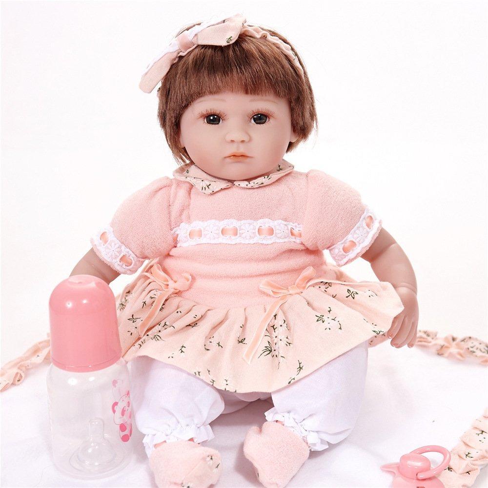 YIHANGG Silicone Vinyl Baby Doll Reborn Baby Dolls Handmade Lifelike Realistic Magnetic Mouth Soft Simulation 18 Inch 45 Cm Girl Favorite Gift