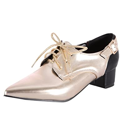 9468d78c37 Latasa Women's Pointed-Toe Chunky Heels Lace-up Oxford Shoes (4.5, Gold