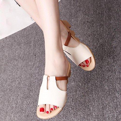 Elevin (tm) Donna Estate Moda Tagliare Peep-toe Piattaforma Scivoli Pantofole Sandali Scarpe Beige