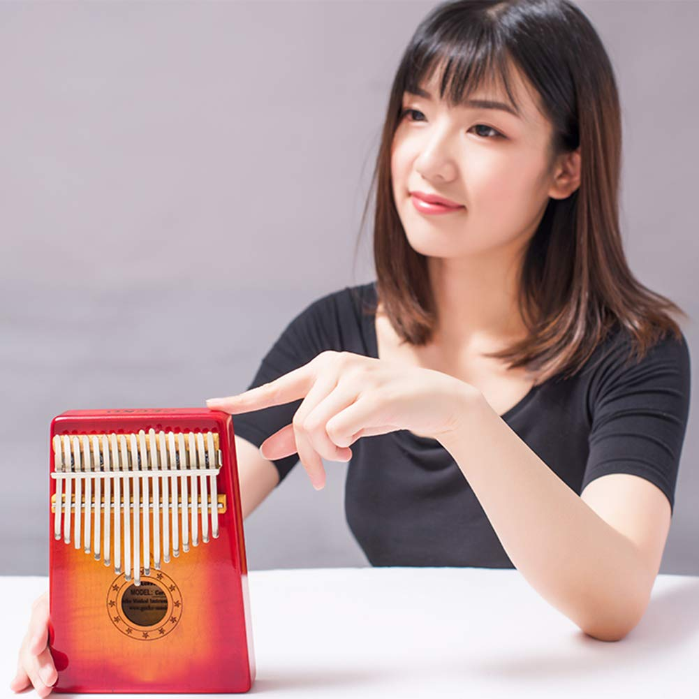 MG.QING Kalimba 17-Key Curly Maple Thumb Piano Built-in EVA Gigh Performance Protection with Pickup,Yellow by MG.QING (Image #5)