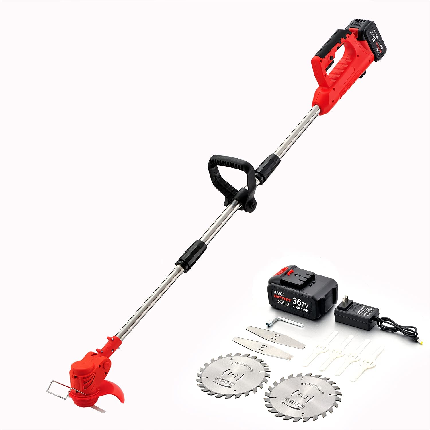 SANJIAN String Trimmer , 36V Large Powered Battery Weed Eater with 3 Types Blades, Sturdy Weed Eater String is Suitable for Lawn Garden Pruning and Trimming