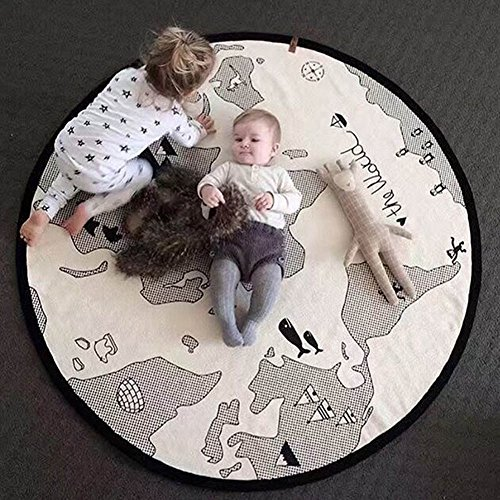 Baby Crawling Mats World Map Pattern Floor Playmats Animal Early Education Round Carpet Diameter 53''