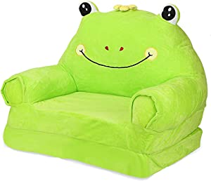 Lzttyee Plush Kids Sofa Chair Cartoon 2 in 1 Flip Open Sofa for Kids Fold Out Backrest Armchair for Playroom Living Room Bedroom (Frog)