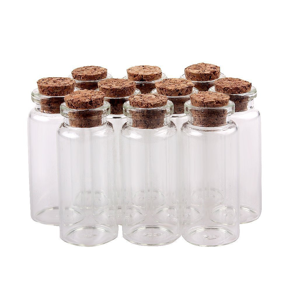 Wowlife Glass Bottles 50mm 2'' 10ml 30pcs Message Bottles Spice Storage Glass with Vials Cork by Wowlife