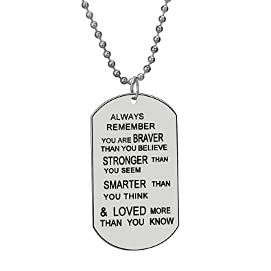 Amazon always remember you are braver than you believe jewelry always remember you are braver than you believe jewelry pendant necklace inspirational gifts aloadofball Choice Image