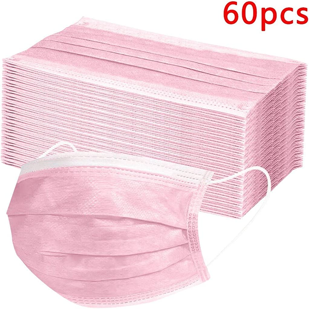 60Pcs Pink Bandana Non Woven General Use Breathable Soft Elastic 3 Layers Pink Clean for Women and Men Outdoor