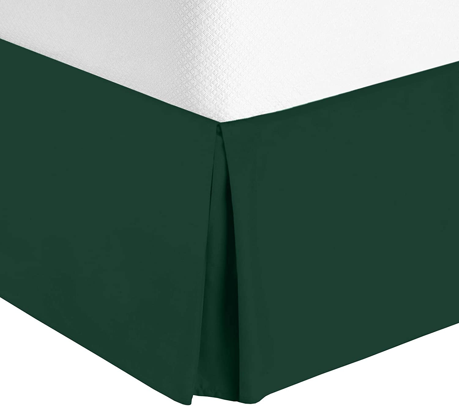 Nestl Bedding Bed Skirt - Soft Double Brushed Premium Microfiber Dust Ruffle - Luxury Pleated Dust Ruffle, Hotel Quality Sleek Modern Bed Skirt, Easy Fit with 14 in Tailored Drop, Full, Hunter Green