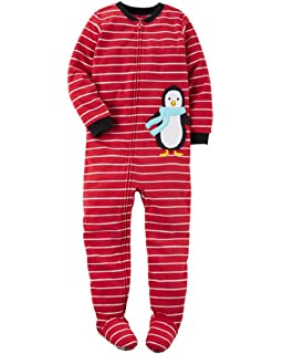 2e2bc856201f Amazon.com  Carter s Boy s 3T Red Striped Penguin Fleece Footed ...
