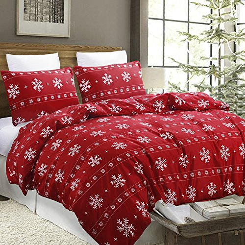 Vaulia Lightweight Microfiber Duvet Cover Set, Snowflake Pattern Design for Christmas New Year Holidays, Red Color - Queen Size