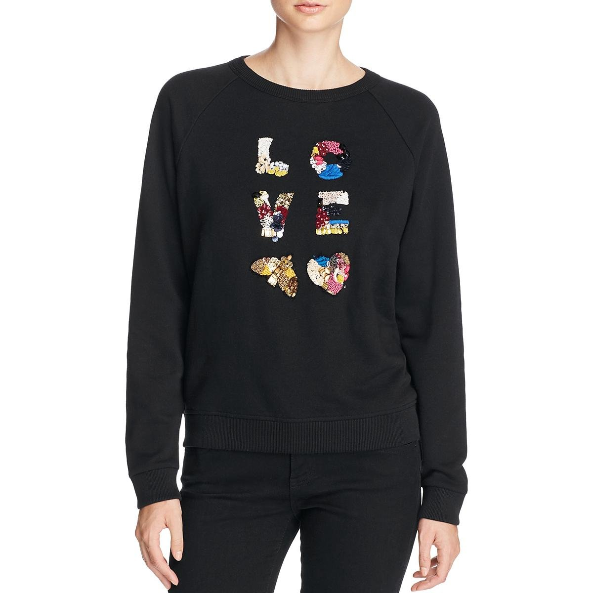 Tory Burch Womens Pullover Embellished Sweatshirt Black S by Tory Burch