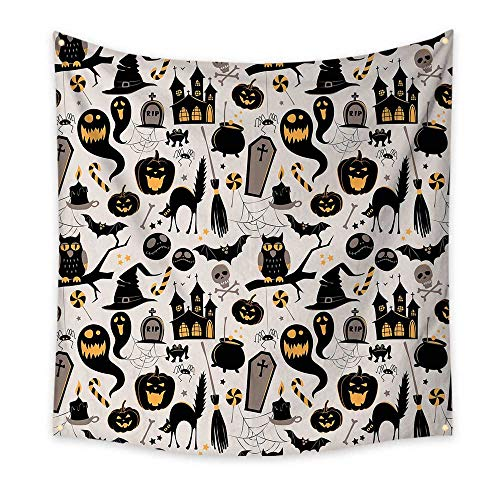 Vintage Halloween Funny Tapestry Halloween Cartoon Jack o Lantern Tombstone Skulls and Bones Quote Tapestry Light Grey Multicolor 47W x 47L Inch ()