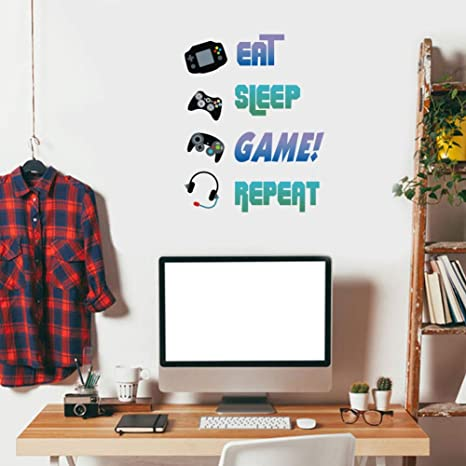 Amazon Com Creative Gaming Quote Eat Sleep Game Repeat Wall Decal Video Game Controller Sticker For Kids Room Boys Bedroom Playroom Wall Decor Arts Crafts Sewing