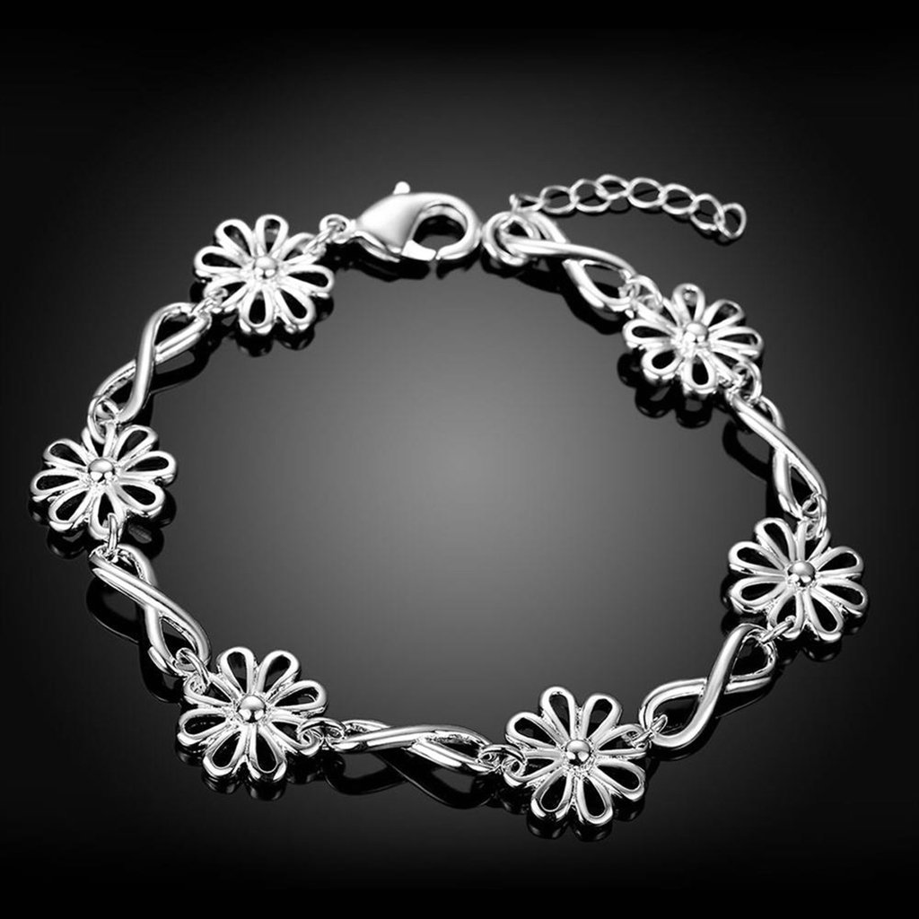 Bishilin Silver Plated Hollow Flowers Chain Link Bracelets Infinity Adjustable