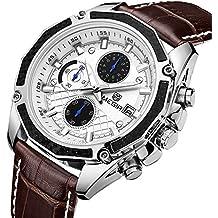 Megir Army Sport Brown Leather Wrist Watch for Men ML2015GBN-7