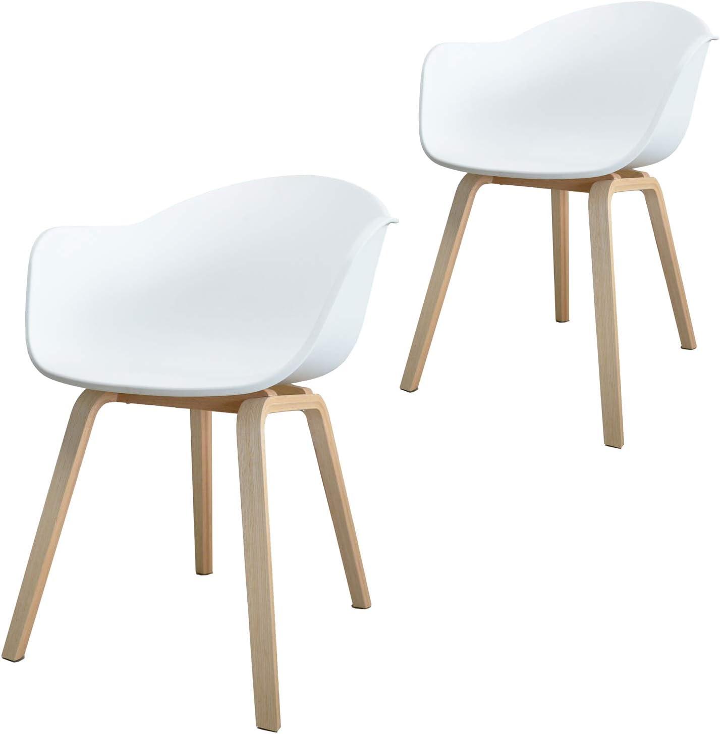Damiware Romeo Lot de 2 chaises avec accoudoirs Tendance rétro Salle a Manger Blanches (Blanc)