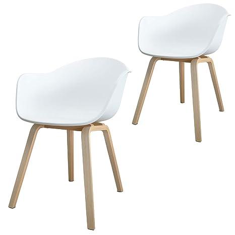 Damiware Romeo - Pack 2 sillas Tower Blanca, Silla Romeo Blanco y Madera de Haya, Medidas: 53 cm Ancho x 43 cm Fondo x 80 cm Altura 46 cm del Asiento ...