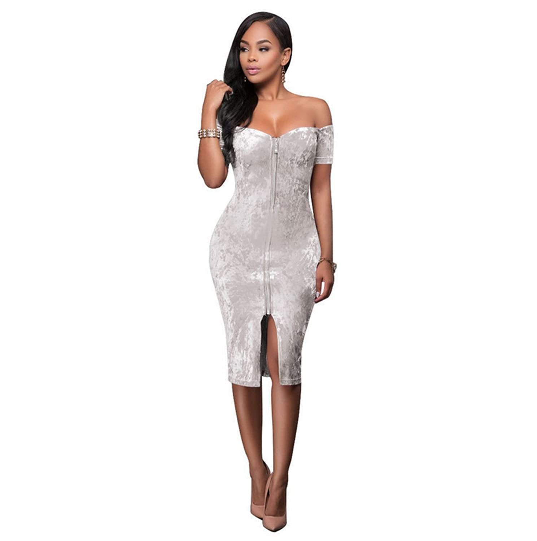Womens Velvet Bodycon Dress Off Shoulder Zippered Velour Party Gown White M