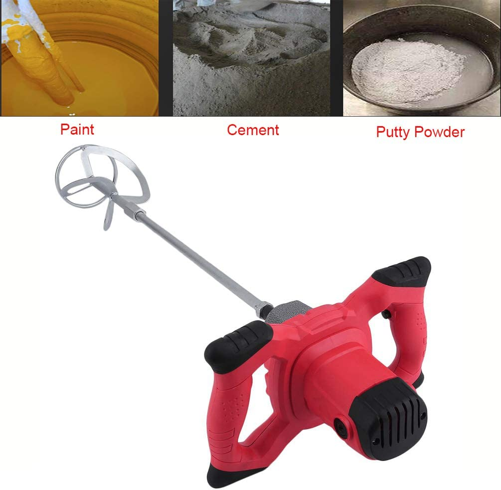 Red Mortar Mixer ApexOne AC 110V 1800W Anti-Slip Handheld 6-Speed Electric Mixer with US Plug for Stirring Plaster Mortar Paint Cement Grout Mix Stirrer Paddle Mixer