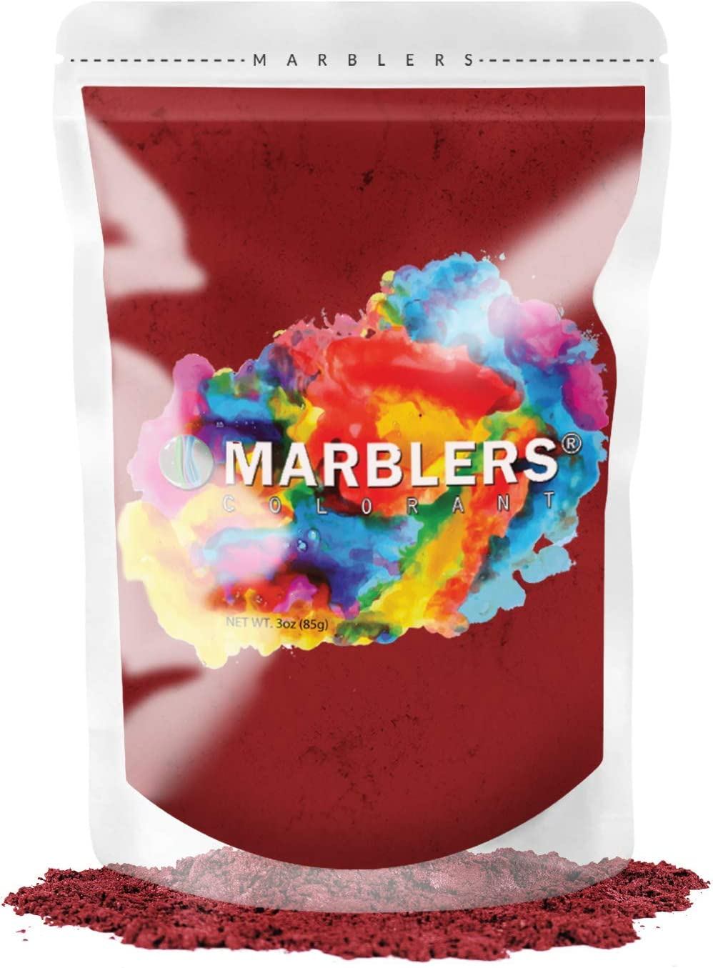 MARBLERS Mica Powder Colorant 3oz (85g) [Deep Red] | Pearlescent Pigment | Tint | Pure Mica Powder for Resin | Dye | Non-Toxic | Great for Epoxy, Soap, Nail Polish, Cosmetics and Bath Bombs