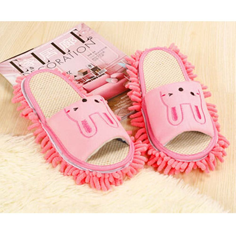 Lovely Animal Microfiber Magic Cleaning Slippers, Pink Rabbit, Feet Length 24CM by Panda Superstore (Image #2)