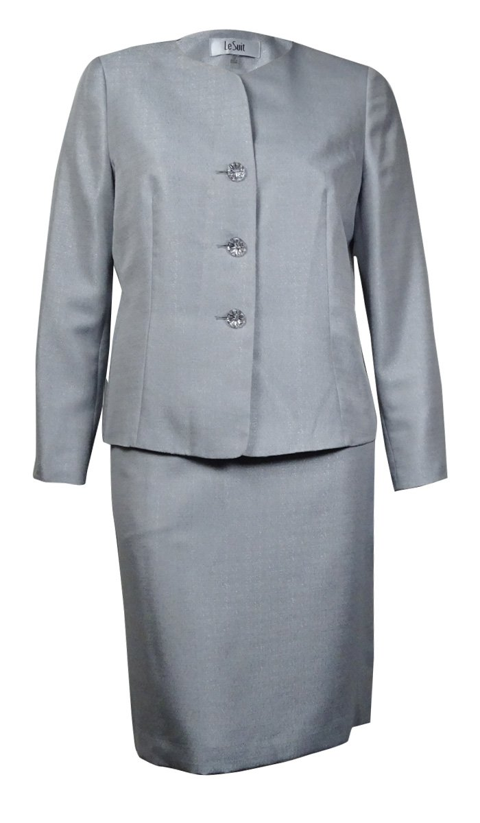 Le Suit Women's Petite Three Button Collarless Shimmer Jacket and Skirt Set, Silver, 8 Petite