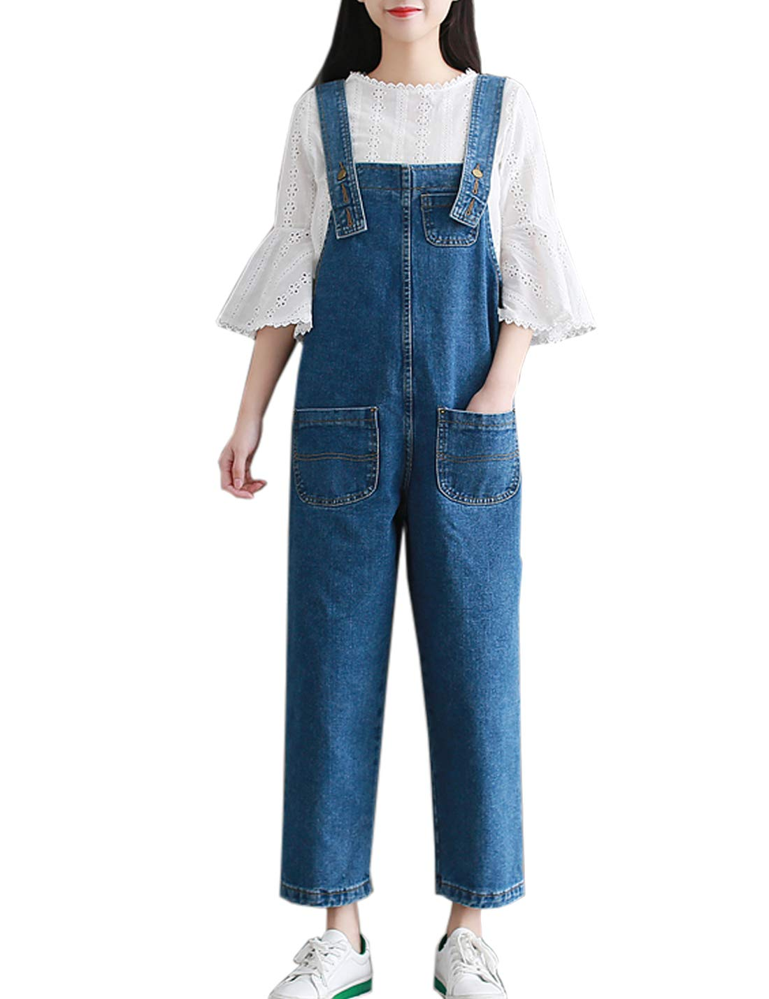 Flygo Women's Casual Loose Wide Leg Denim Cropped Harem Pant Bib Overalls Jeans Jumpsuits