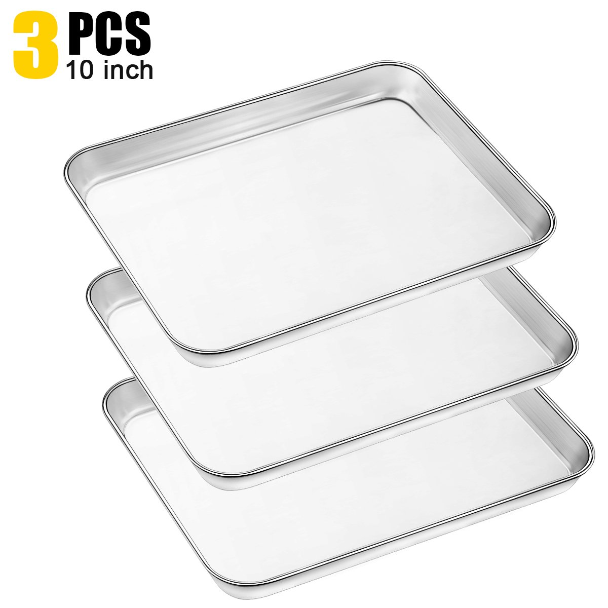 Baking Pans Sheet, 3 Piece Large Cookie Sheets Stainless Steel Baking Pan for Toaster Oven, Umite Chef Non Toxic Tray Pan, Mirror Finish, Easy Clean, Dishwasher Safe, 10 x 8 x 1 inch