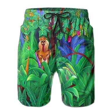 Mens Beach Shorts Tropical Jungle Swim Trunks Board Cargo Summer Shorts Quick-Drying