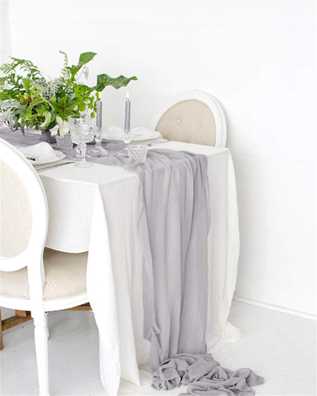 B-COOL 5 Piece of Gray Elegant Soft Chiffon Table Runner 27 x120 Inches Chiffon Wedding Table Tunners for Rustic Romantic Wedding Birthday Party Banquet Sweets Tables Decoration by B-COOL