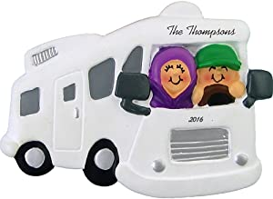 """Calliope Designs Motor Home/RV with Couple Personalized Christmas Ornament -Retirement Travel- 2.5"""" X 3"""" - Free Customization"""