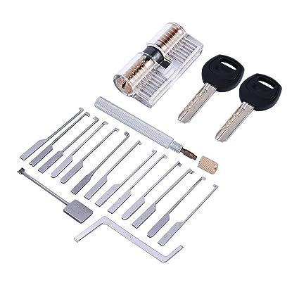 TPM Go 14pcs Kaba Lock Pick herramienta con transparente cerradura de Kaba formación, profesional cerrajero