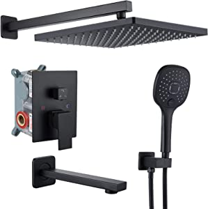 gotonovo Rainfall Matte Black Shower System Mixer Shower Combo Set 9 Inch 3 Function Wall Mounted Shower Head ABS Handheld Shower Bathroom Luxury Rain Rough-in Valve Body and Trim Kit with Tub Spout