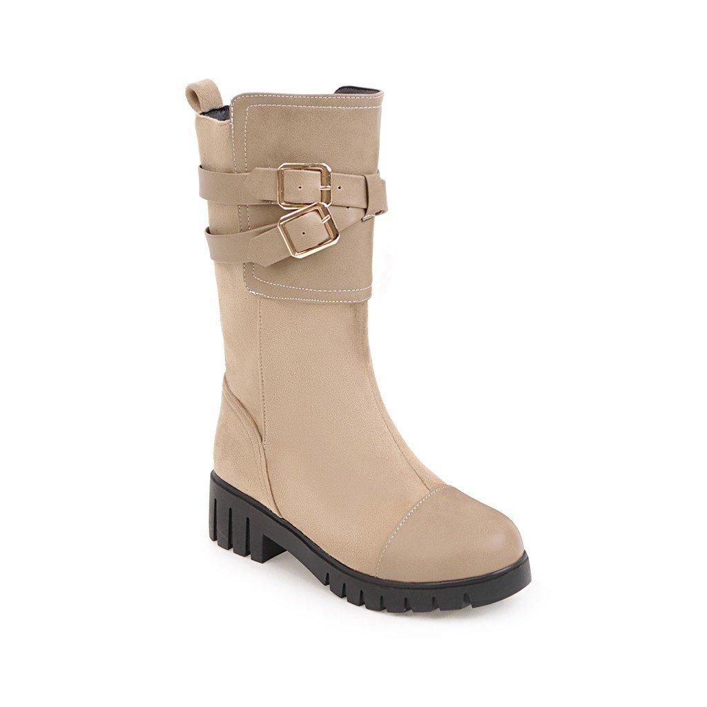 DYF Schuhe Schuhe Schuhe kurze Stiefel rauhe Ferse Dick unten Metall Gürtelschnalle Gurt Beige 39 1abd05