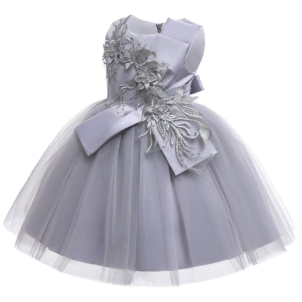 Sameno Girls Embroidery Flower Princess Dress 3-12t Mesh Tulle Ball Gown Puffy Tutu for Bridesmaid Pageant Wedding Party Gray by SamXmasBaby