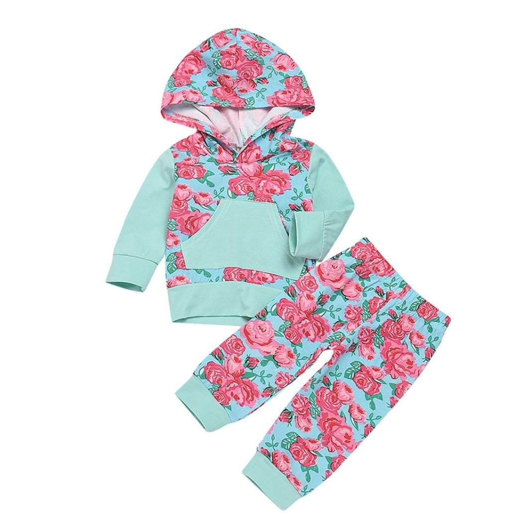 Jchen(TM) Hot Sales! Infant Baby Boys Girls Long Sleeve Hooded Tops Floral Print Pants Outfits Set for 0-24 Months (Age: 0-6 Months)