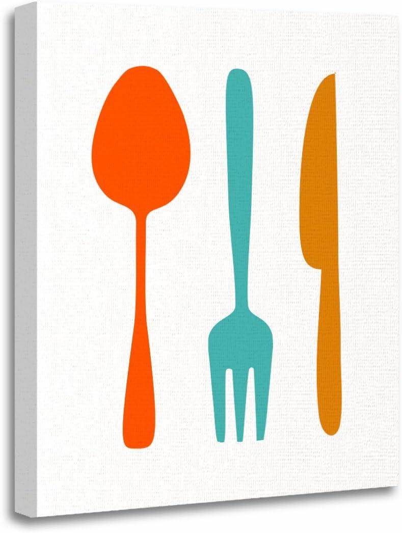 Amazon Com Torass Canvas Wall Art Print Teal Retro Eat Mid Century Modern Orange 50s Artwork For Home Decor 12 X 16 Posters Prints