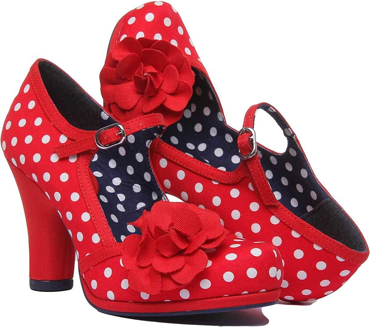 Ruby Shoo Hannah Red Spots Womens Block Heels
