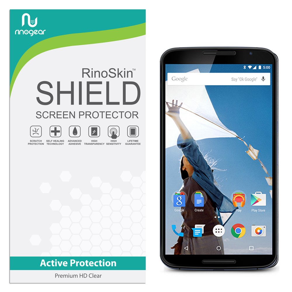 RinoGear Google Nexus 6 Screen Protector Case Friendly Screen Protector for Google Nexus 6 Accessory Full Coverage Clear Film