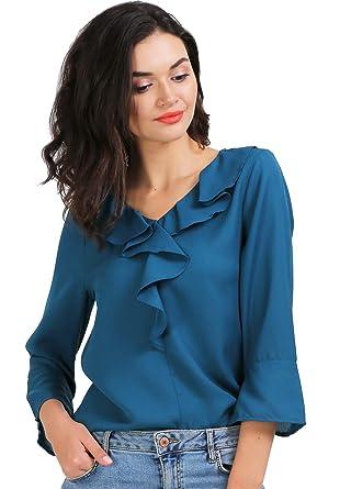 631d5e9a4a3 AELO Women's Crepe Frill Top - (Sea Blue): Amazon.in: Clothing ...