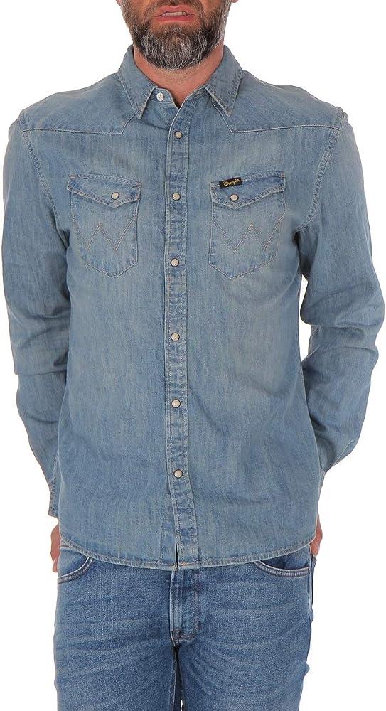 Wrangler - Camisa vaquera para hombre, color azul Super Bleach M: Amazon.es: Ropa y accesorios