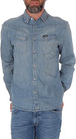 Wrangler - Camisa vaquera para hombre, color azul Super ...